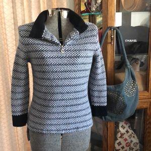 St. John Sport Half Zip Cotton/Wool Sweater S